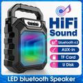 Wireless bluetooth Speaker LED Light Display 3D HiFi Surround Stereo Music Control Handle Speaker Hands-free Calling built-in Noise Isolation Mic, Support /AUX/USB/TF/FM play, USB Recharging