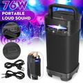 [Upgraded] 76W Bluetooth Speaker 5.0, KWANSHOP Wireless Outdoor Portable, Mic Enabled, TWS, AUX, TF, FM, USB, Powerful Rich Bass Loud Stereo Built-in 4400mAh Battery Power Bank - , LED Colorful Lights