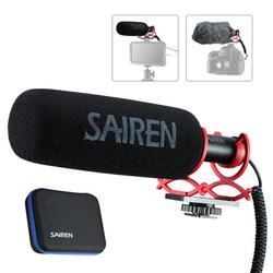 SAIREN Q3 Super Cardioid Condenser Microphone Interview Mic 3.5mm Plug-and-Play Compatible with Android Smartphone DSLR Cameras with Carry Bag Shock-Mount Windscreen