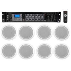 """Rockville 6-Zone 70v Amplifier+8) 6.5"""" 2-Way White Ceiling Speakers 4 Restaurant"""