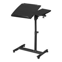 C Side Laptop Desk Table with Storage Net C End Table Mobile Standing Desk Height Adjustable Bed Sofa Side Desk Simple Style Removeable Computer Deskwith Lockable Rolling Wheels
