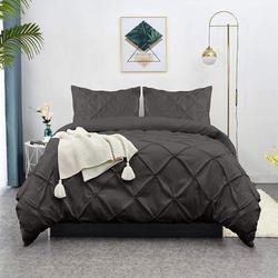 GoodDogHousehold Duvet Cover Full, Green Beans Soft Duvet Cover Set, Farmhouse Textured Comforter Cover Hotel Pintuck Bedding Duvet Cover 3 Pieces
