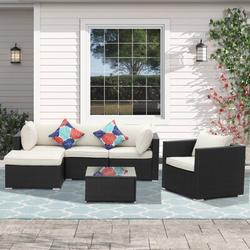 Latitude Run® 6 Pcs Outdoor Patio Furniture Sets Pe Rattan Wicker Sofa Sectional Furniture Set w/ 2 Pillows & Coffee Table Wicker/Rattan in White