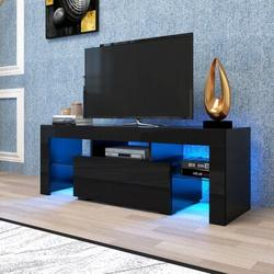 Orren Ellis Entertainment Tv Stand, Large Tv Stand Tv Base Stand w/ Led Light Tv Cabinet. Wood in Black, Size 13.8 H in | Wayfair