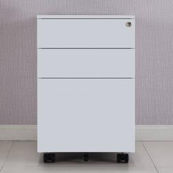 Inbox Zero 3 Drawer Mobile File Cabinet, Office Storage Cabinet Metal Filing Cabinet w/ Lock, Commercial Household Storage Cabinet w/ Wheels in White