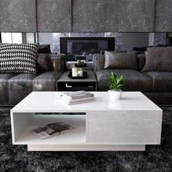 Ivy Bronx Rectangular Coffee Table, Particle Board Console Table Sofa Side Table 2 Tier w/ 1 Open Storage Shelf & 1 Drawer in White | Wayfair