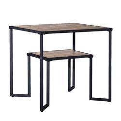 Latitude Run® Dual Tier Coffee & Tea Small Square End Table,nightstand,side Table Beside Table w/ 2-tier Wood Storage Shelf For Living Room & Office