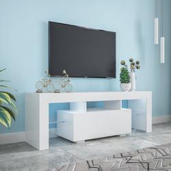 Ivy Bronx Entertainment TV Stand, Large TV Stand TV Base Stand w/ LED Light TV Cabinet. Wood in Brown/White | Wayfair