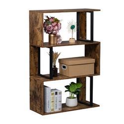 17 Stories Bookcase & Bookshelf 4 Tier Display Shelf, S-Shaped Z-Shelf Bookshelves in Black/Brown, Size 43.0 H x 30.0 W x 12.0 D in | Wayfair