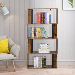 17 Stories Bookcase & Bookshelf 4 Tier Display Shelf, S-Shaped Z-Shelf Bookshelves in Gray, Size 57.0 H x 30.0 W x 12.0 D in   Wayfair
