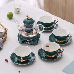 Rosdorf Park Clear Glass Teapot Tea Set w/ Removable Infuser,Includes 4 Ceramic Tea Cups & Saucers in Green, Size 5.3 H in   Wayfair