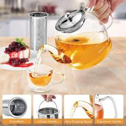 MingshanAncient Glass Teapot, Glass Teapot w/ Removable Infuser, Clear Teapot For Blooming Tea, Loose Tea, Flowering Tea Pot Gift Set, Size 5.7 H in