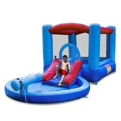 Rangland Inflatable Water Slide And Bounce House w/ Blower And Water Gun/splash Pool For in Blue | Wayfair WFBH