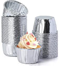 tokyolongco Aluminum Foil Baking Cups, Disposable Foil Cupcake Cups, Foil Muffin Liners in Gray | Wayfair 136EB708MTSPGNX-03