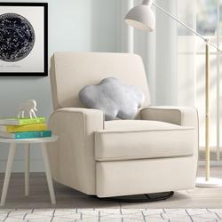 Mack & Milo™ Abingdon Swivel Reclining Rocking Chair Glider Polyester/Polyester Blend/Polyester or Polyester Blend in White | Wayfair