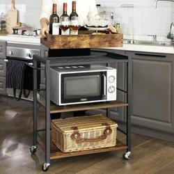 Williston Forge Bar Cart, Kitchen Serving Cart, Utility Cart w/ Wheels & Handle, Rusic & Black ULRC72X in Brown, Size 33.9 H in   Wayfair