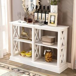 Longshore Tides TREXM Console Table w/ 3Tier Open Storage Spaces & X Legs Narrow Sofa Entry Table For Living Room Entryway & Hallway Wood in White