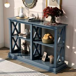 Longshore Tides TREXM Console Table w/ 3Tier Open Storage Spaces & X Legs Narrow Sofa Entry Table For Living Room Entryway & Hallway Wood in Blue