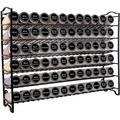 Prep & Savour Spice Rack w/ 72 Empty Square Spice Jars, 340 Spice Labels w/ Chalk Marker & Funnel Complete Set,For Countertop,Cabinet Or Wall Mount