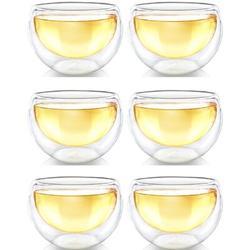 zhulinjubao Double Wall Glass Tea Cups, Glass Tea Cups Set Of 6, Glass Coffee Cup, Glass Tea Cups For Tea Or Coffee, Size 2.2 H x 7.2 W in | Wayfair