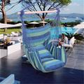 Athome Large Hammock Chair Swing for Kids Outdoor Hanging Chair Soft-Spun Cotton Rope Weaving Chair Hardwood Spreader Bar Wide Seat Swing Chair Indoor Garden Yard Theme Decoration Blue