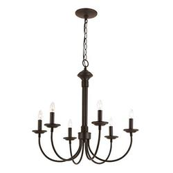 Trans Glob Lighting Trans Globe Imports 9016 BK Americana Six Light Chandelier from Candle Collection in Black Finish 2400 inches