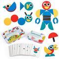 LNKOO Wooden Pattern Blocks Puzzle Tangram Shape Set Wood Animal Jigsaw Color Sorting Stacking Game Preschool Montessori Brain Teaser STEM Gift for 3 4 5 Years Old Toddler Kid (60 Pattern Cards)