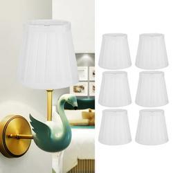 EBTOOLS 6PCS Lamp Shade, Modern Fabric Inner Membrane Lampshades, Nordic Simple Art Decor Light Shade For E14 Wall Lamp, Chandelier, Table Lamp, Floor Light(White)