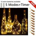 Wine Bottle Lights with Cork, 5 Dimmable Modes with Timer 10 Pack -12 Replacement Battery Operated LED Silver Copper Wire Fairy String Lights for DIY, Party, Decor,Christmas, Halloween,Wedding