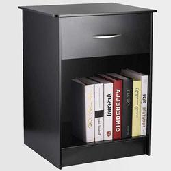 CINAK Nightstand with Drawer Bedside Table End Table File Cabinet Storage with Sliding Drawer Freestanding Nightstand, Black