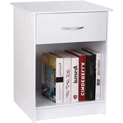 CINAK Nightstand with Drawer Bedside Table End Table File Cabinet Storage with Sliding Drawer Freestanding Nightstand, White