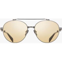 Black And Gold-tone Titanium Brigade-ii Sunglasses - Metallic - Balmain Sunglasses