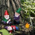 Funny Gnomes Garden Decorations Garden Gnomes Outdoor 4PCS Fairy Garden Miniatures Accessories Yard Ornaments Outdoors Clearance Garden Sculpture Statues Figurines Lawn Garden Decor for Outside Art