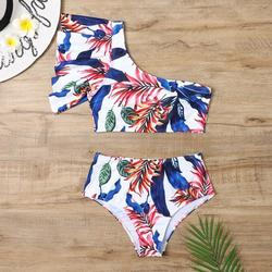 TANGNADE swimsuit women's body skirt swimsuit sexy shade swimwear Women's bikini leaf one-shoulder swimsuit outer single swimwear Beachwear