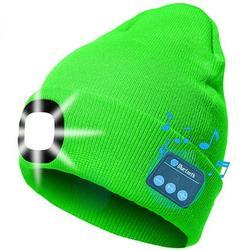 Jocestyle LED Beanie Hat, Men Women Wireless Bluetooth Beanie Knitted Hat (Green)