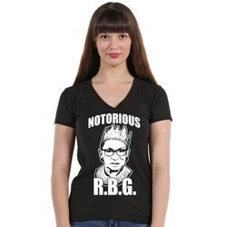 P&B Notorious RBG Ruth Bader Ginsburg Women's V-neck, L, Black
