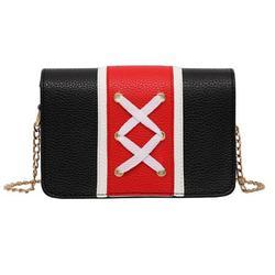 Clearance Sale Women Fashion Shoelace Shoulder Bag Ladies Hit Color Purse Rectangle Messenger Satchel Casual All-match Style Crossbody black