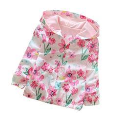 Girls Rain Jackets Lightweight Hoodie Thin Coat,Baby Girl Cute Flowers Zipper Jacket Raincoats Windbreakers for Kids Hooded Outwear,Toddler Girls' Rain Jacket Long Sleeve Floral Fleece Lined 2-6T