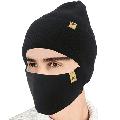 2-Pieces Winter Beanie Hat Face Mask Set Winter Knit Skull Cap Hat Adjustable Face Mask Beanie for Women Men