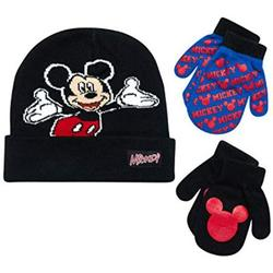 Kids Winter Hat Set, Mickey Mouse Clubhouse Reversible Hat and 2 Pair Mittens for Boy Age 2-4