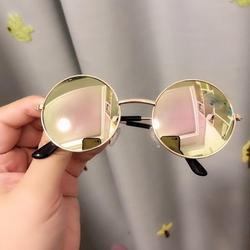 SUPERHOMUSE Children's Sunglasses Cute Round Frame Cartoon Glasses Metallic Fruit Dazzle Sunglasses Personality Sunglasses; 2-8Y