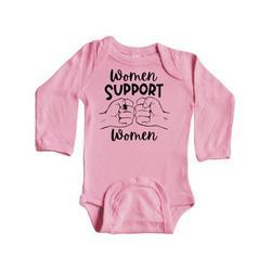 Inktastic Women Support Women Fist Bump Infant Long Sleeve Bodysuit Unisex Light Pink 12 Months