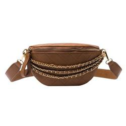 Chinatera Casual Lattice Pattern Chest Bags Women Chain PU Messenger Pouch (Brown)