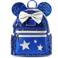 Disney Parks Wishes Come True Blue Minnie Sequined Mini Backpack New with Tag
