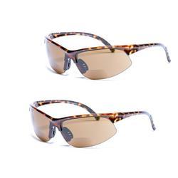 2 Pair of Unisex Bifocal Sport Wrap Sunglasses - Outdoor Reading Sunglasses - Tortoise/Tortoise - 2.50