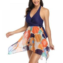 European And American Split Printed Mesh Skirt Split Mesh Swimsuit High Waisted Halter Swimsuit for Women Two Piece