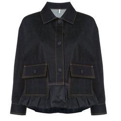 Moncler Ladies Nymphe Denim Jacket in Dark Blue