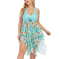 Sexy Dance Women's Plus Size Swimsuit Floral Printed Swimwear Tummy Control Swimdress Two Pieces Tankini Set Halter Neck Backless Padded Bathing Suit Beachwear Bathing Suit Swimming Costume L-5XL