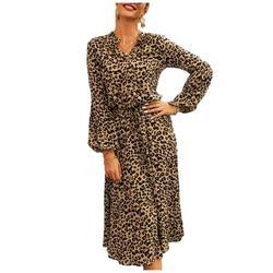 Selfieee Women's Cute Printed Long Sleeve Knee Length Dress Flower Printed Dress 05076 Leopard Large