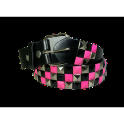 3-row Metal Pyramid Studded Leather Belt 3-tone Striped Punk Rock Goth Emo Biker - Pink With Silver And Black / L